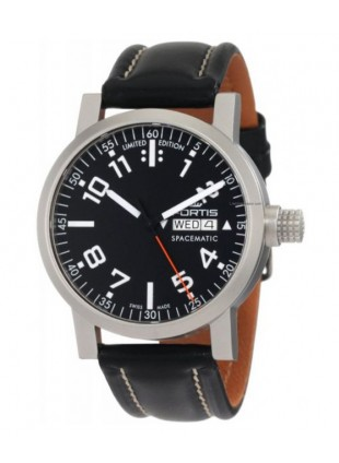 FORTIS SPACEMATIC DAY/DATE 100m WR BLACK LEATHER STRAP LIMITED EDN