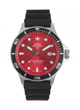 CX Swiss Military CALYPSO Diving Watch Swiss Quartz Date 10ATM Red Dial 2883