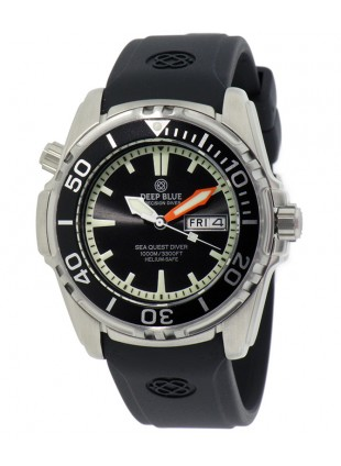 DEEP BLUE Sea Quest Diver 1000 Day/Date diving watch Black dial & Bezel