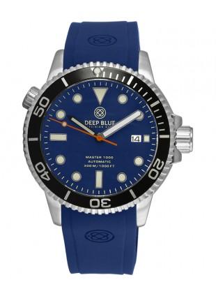 Deep Blue MASTER DIVER 1000 Auto watch Blue Silicon strap Black Bezel Blue Dial