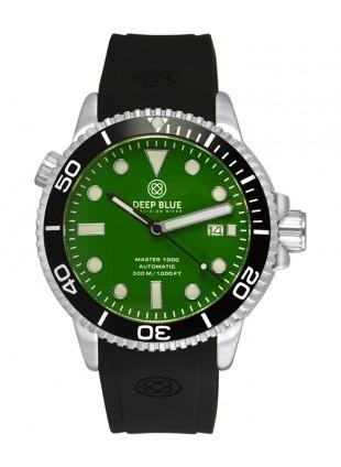 Deep Blue MASTER DIVER 1000 Auto watch Black Silicon Strap & bezel Green Dial