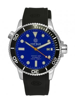 Deep Blue MASTER DIVER 1000 Auto diving watch Black strap Black Bezel Blue Dial