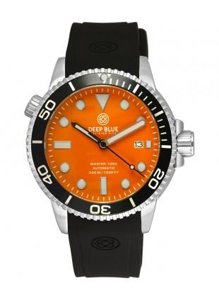 Deep Blue MASTER DIVER 1000 Auto watch Black Silicon strap & bezel Orange Dial