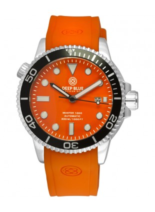 Deep Blue MASTER DIVER 1000 Auto watch Black bezel Orange Silicon strap & Dial