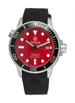 Deep Blue MASTER DIVER 1000 Auto watch Black silicon strap Black bezel Red dial