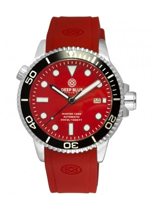 Deep Blue MASTER DIVER 1000 Auto watch Red silicon strap Black bezel Red dial