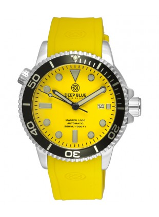 Deep Blue MASTER DIVER 1000 Auto watch Yellow silicon strap Black bezel Yell dial