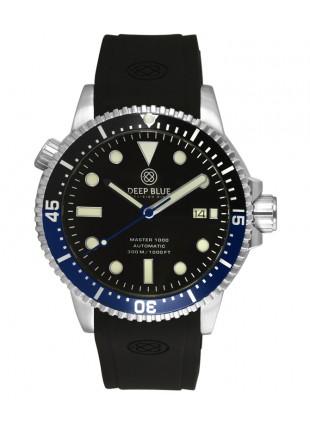 Deep Blue MASTER DIVER 1000 Auto watch Black/Blue Bezel Black strap Black dial