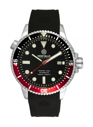 Deep Blue MASTER DIVER 1000 Auto watch Red/Black Bezel Black strap Black dial