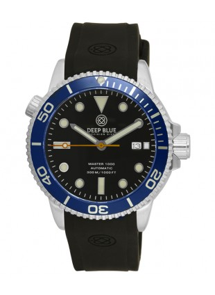Deep Blue MASTER DIVER 1000 Auto watch Black silicon strap Blue bezel Black dial
