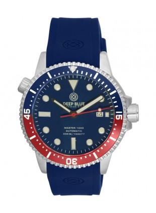 Deep Blue MASTER DIVER 1000 Auto watch Blue strap Blue/Red Bezel Blue Dial