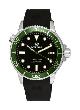 Deep Blue MASTER DIVER 1000 Auto watch Blk silicon strap Green bezel Black dial