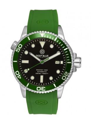 Deep Blue MASTER DIVER 1000 Auto watch Green Silic strap Green bezel Black dial