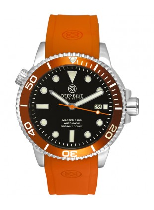 Deep Blue MASTER DIVER 1000 Auto watch Orange Sil strap Orange bezel Black dial