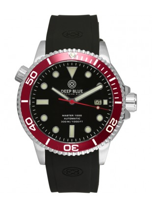 Deep Blue MASTER DIVER 1000 Auto watch Black Silicon strap Red bezel Black dial
