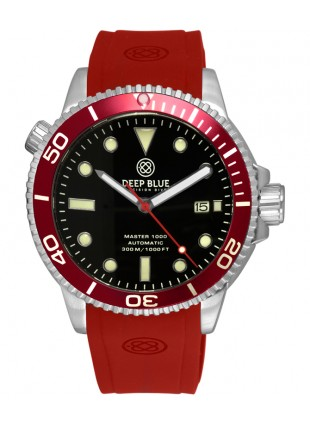 Deep Blue MASTER DIVER 1000 Auto watch Red Silicon strap Red bezel Black dial
