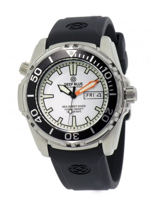 DEEP BLUE Sea Quest Diver 1000 Day/Date diving watch White dial & Black Bezel