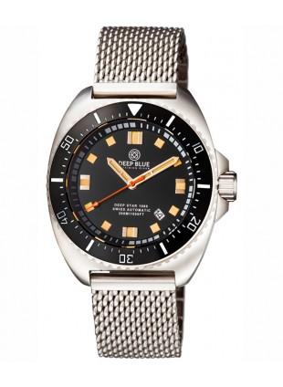 Deep Blue Deep Star 1000 Swiss Auto dive watch Ceram bez Black Dial SS Bracelet