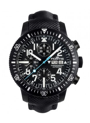 Fortis Aquatis DIVER BLACK CHRONOGRAPH Automatic Swiss watch PVD Case 638.18.41