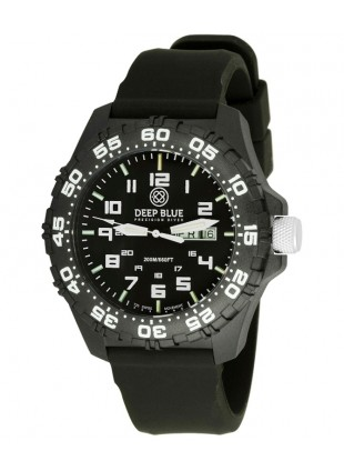 Deep Blue Daynight Diver Tritium watch Swiss movt. 200m WR Carbon Case Black