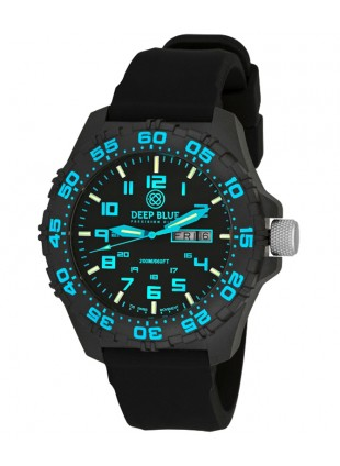 Deep Blue Daynight Diver Tritium watch Swiss movt. 200m WR Carbon Case Blue