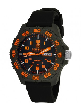 Deep Blue Daynight Diver Tritium watch Swiss movt. 200m WR Carbon Case Orange