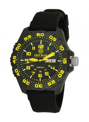 Deep Blue Daynight Diver Tritium watch Swiss movt. 200m WR Carbon Case Yellow