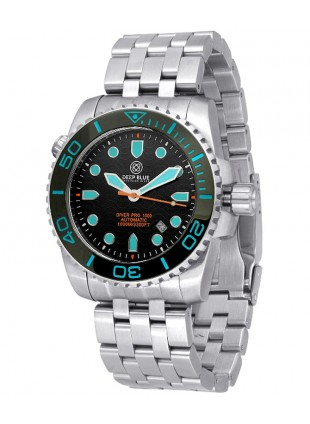 Deep Blue Diver Pro 1000m Auto diving watch S/Steel case Ceramic bezel Bk dial