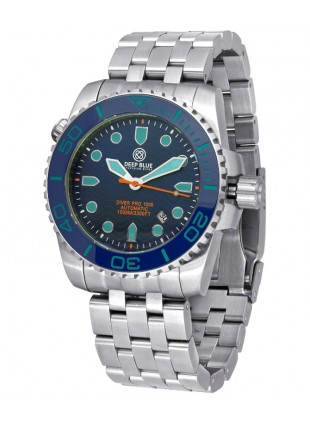 Deep Blue Diver Pro 1000m Auto diving watch S/Steel case Ceramic bezel Blue dial