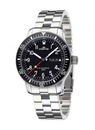 FORTIS B-42 OFFICIAL COSMONAUT DAY/DATE WR 200M STEEL BRACELET 647.10.11 M