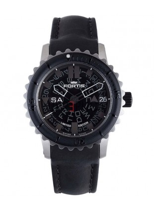 FORTIS B-47 BIG STEEL AUTO WR 200M LTD EDN BLACK LEATHER STRAP 675.10.81 L01