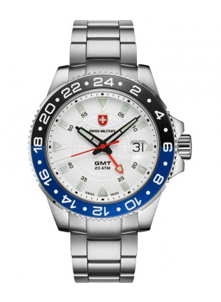 CX Swiss Military GMT Swiss quartz 42mm watch 20ATM 2nd Timezone Silv. dial 2770