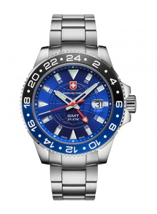 CX Swiss Military GMT Swiss quartz 42mm watch 20ATM 2nd Timezone Blue dial 2772