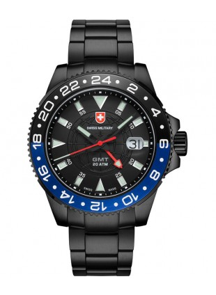 CX Swiss Military GMT NERO Swiss 42mm watch PVD Case 2nd Timezone Blk dial 2776