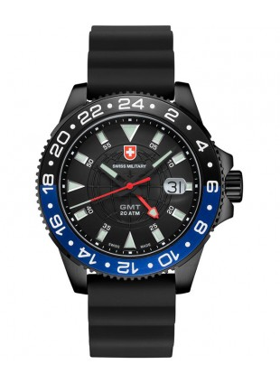 CX Swiss Military GMT NERO SCUBA Swiss watch PVD Case 2nd T/Zone Blk dial 27761