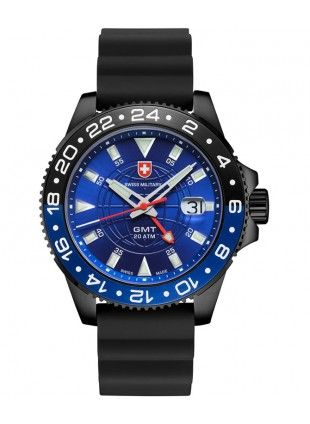 CX Swiss Military GMT NERO SCUBA Swiss watch PVD Case 2nd T/Zone Blu dial 27771