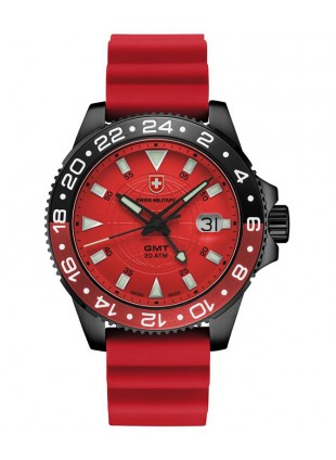 CX Swiss Military GMT NERO SCUBA Swiss watch PVD Case 2nd T/Zone Red dial 27781