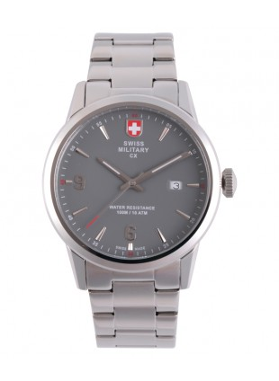 CX Swiss Military GRUNT Officer Watch Swiss Quartz SS Bracelet Grey Dial 2887