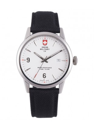 CX Swiss Military GRUNT Officer Watch Swiss Quartz Black Strap White Dial 2890