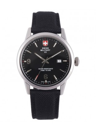 CX Swiss Military GRUNT Officer Watch Swiss Quartz Black Strap Black Dial 2891