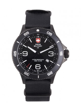 CX Swiss Military HUMVEE Infantry Watch Swiss Quartz Black Strap Black Dial 2895