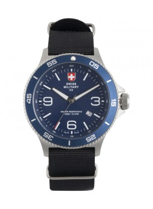 CX Swiss Military HUMVEE Infantry Watch Swiss Quartz Black Strap Blue Dial 2896