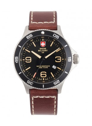 CX Swiss Military HUMVEE Infantry Watch Swiss Quartz Brown Strap Black Dial 2898