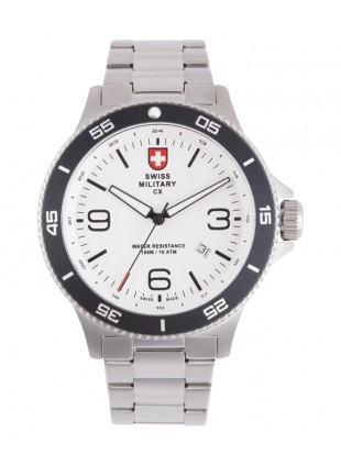 CX Swiss Military HUMVEE Infantry Watch Swiss Quartz SS Bracelet White Dial 2900