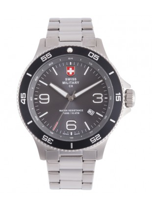 CX Swiss Military HUMVEE Infantry Watch Swiss Quartz SS Bracelet Grey Dial 2901