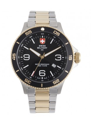 CX Swiss Military HUMVEE Infantry Watch Swiss Quartz SS Bracelet Black Dial 2903