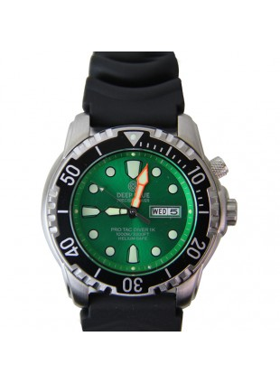 DEEP BLUE PROTAC DIVER 1K QUARTZ DIVING WATCH 1000m WR HELIUM VALVE GREEN DIAL