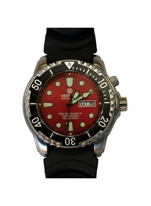 DEEP BLUE PROTAC DIVER 1K QUARTZ DIVING WATCH 1000m WR HELIUM VALVE RED DIAL