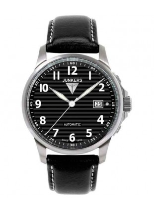JUNKERS TANTE JU AUTO WIND WATCH 100M WR SAPHHIRE CRYSTAL 40mm BLACK DIAL 6860-2