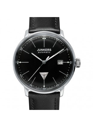 JUNKERS BAUHAUS 6050-2 QUARTZ WATCH with SWISS RONDA MOVEMENT 30M WR BLACK DIAL